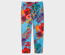 Turquoise 'Ocean' Print Stretch-Cotton Trousers