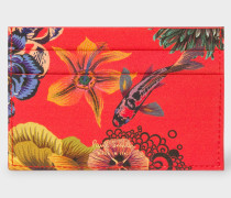 Red 'Ocean' Print Card Holder With 'Bright Stripe' Webbing