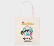 'Amazing Strong Denim' Print Canvas Tote Bag