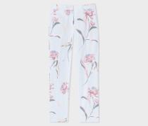 Light Blue 'Pacific Rose' Print Linen-Blend Trousers