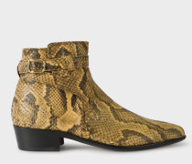 Cream Snake-Effect Leather 'Dylan' Boots