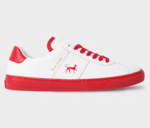 White and Red Calf Leather 'Levon' Trainers With 'Dog' Motif
