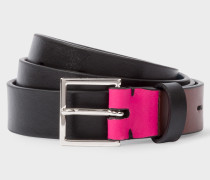 Black Leather Belt With Contrast End