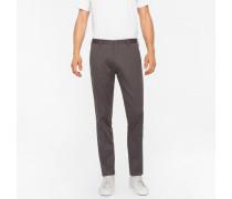 Slim-Fit Dark Grey Stretch-Cotton Twill Trousers