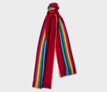 Ruby Red Rainbow-Edge Merino Wool Scarf
