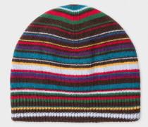 Signature Stripe Wool-Blend Beanie Hat