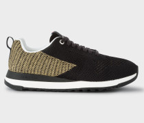 Black And Gold 'Rappid' Knitted Trainers