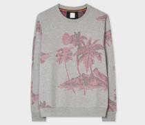 Slim-Fit Grey Loopback-Cotton Sweatshirt With 'Midnight' Jacquard