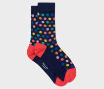 Navy Polka Dot Semi-Sheer Socks