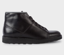 Black Leather 'Rainey' Boots With Reflective Trims