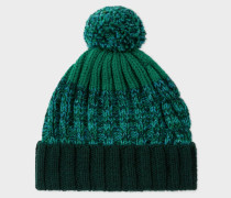 Green Lambswool Twisted-Yarn Cable Knit Bobble Hat