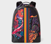 Black 'Ocean' Print Canvas Backpack With 'Bright Stripe' Webbing