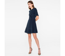 Navy Silk Dress With Ruffle Front