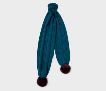 Petrol Blue Cable Knit Scarf