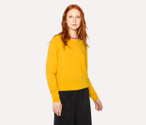 Yellow Cashmere Sweater With Textured Collar