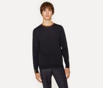 Navy Merino-Wool Sweater With 'Artist Stripe' Collar And Cuffs