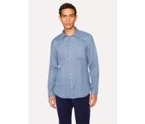 Tailored-Fit Blue Linen Shirt