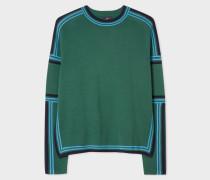 Green Cotton Crew Neck Striped Sweater