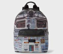 Black Leather And Canvas 'Space Shuttle' Print Backpack