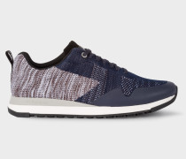 Grey And Navy 'Rappid' Knitted Trainers