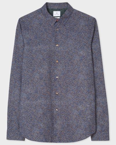 Slim-Fit Navy 'Flower Power' Print Cotton Shirt