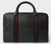 Black Leather 'City Webbing' Holdall