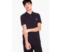 Navy Cotton-Piqué Embroidered 'Dino' Polo Shirt