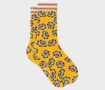 Yellow 'Hawaiian Floral' Pattern Socks