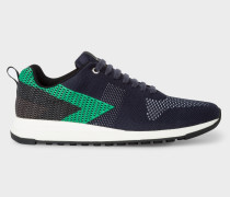 Navy And Green 'Rappid' Knitted Trainers