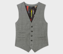 Slim-Fit Grey Check Wool Waistcoat