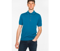 Petrol Knitted Cotton Polo Shirt With Black Collar Tipping