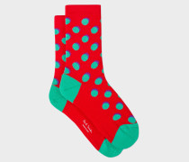 Red Polka Dot Socks With Shadow