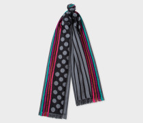Black And Grey Polka-Stripe Cotton And Silk-Blend Scarf