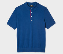 Blue Knitted Cotton Polo Shirt With Contrasting Placket Detail