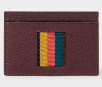 Burgundy 'Bright Stripe' Webbing Leather Credit Card Holder