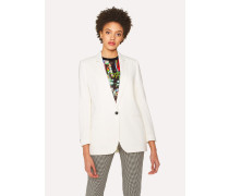 Relaxed-Fit Cream Wool-Hopsack Blazer