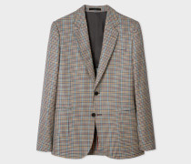 Tailored-Fit Tan Check Wool-Silk Blazer
