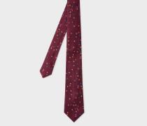 Burgundy Narrow Silk Tie With Multi-Coloured Stars