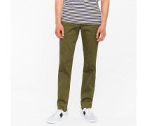 Slim-Fit Olive Green Cotton-Twill Stretch Chinos