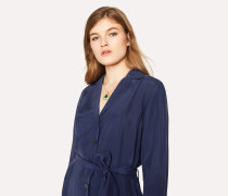 Navy Silk Shirt-Dress