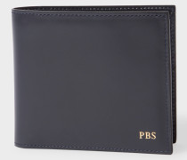 Navy Leather Monogrammed Billfold Wallet