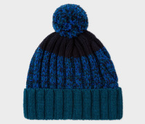 Navy Lambswool Twisted-Yarn Cable Knit Bobble Hat