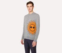 Grey Marl Merino Wool Sweater With 'Sun' Intarsia