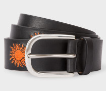 Black Embroidered Sun Pattern Leather Belt