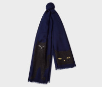 Navy Embroidered 'Cat' Pattern Wool Scarf