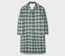 Green And Grey Check Linen-Blend Cocoon Coat