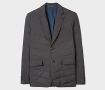 Black Chevron Down-Filled Blazer