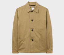 Khaki Linen-Blend Chore Jacket