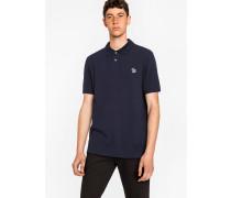 Dark Navy Organic Cotton-Piqué Zebra Logo Polo Shirt
