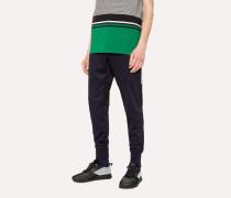 Navy Cotton-Blend Panelled Sweatpants